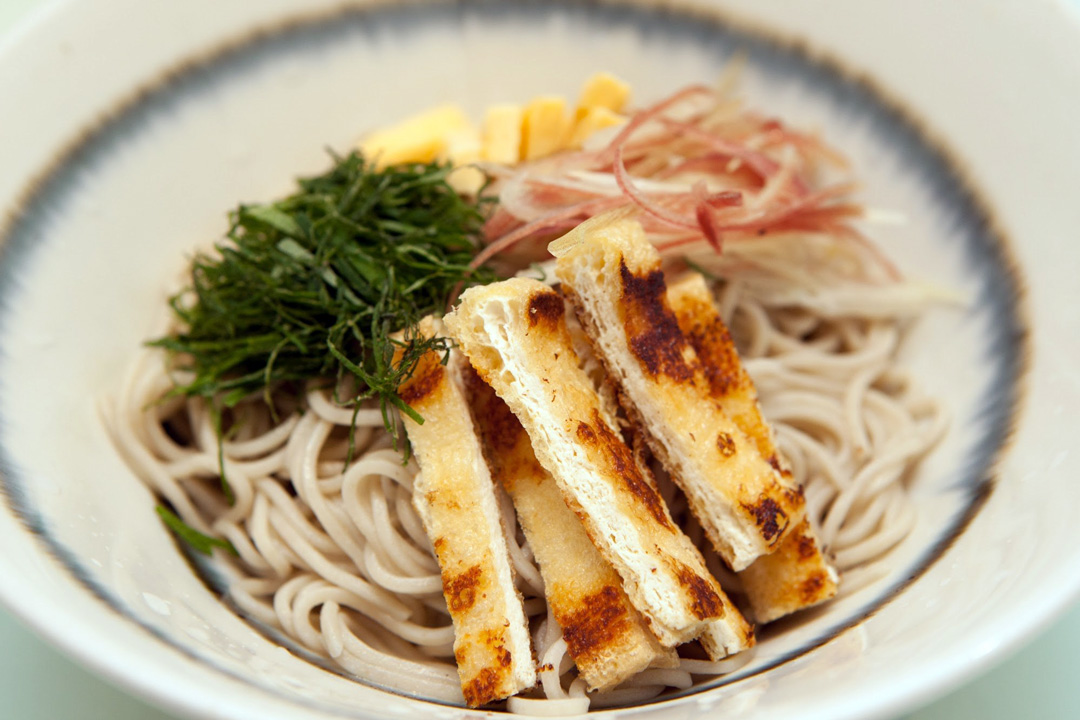 HIYASHI-BUKKAKE-SOBA(冷しぶっかけそば)¥1,000 : Cold noodles with Grilled eggs, Perilla leaves,Grilled fried tofu, Myoga(Japanese ginger)
