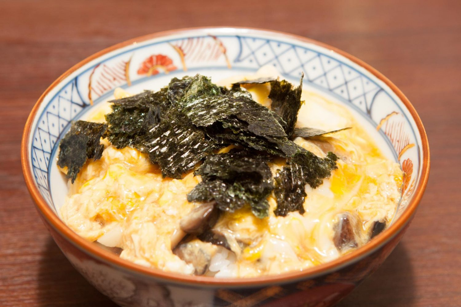 KONOHA-DON(このは丼): Rice topped with fish cakes, mushrooms & partly-cooked egg