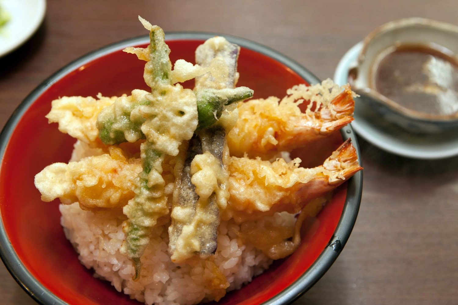 TEMPURA-DON(天ぷら丼) : Rice topped with two fried Tempura prawns
