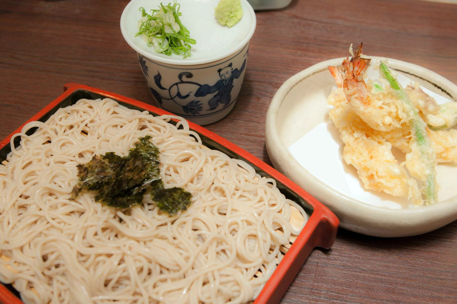 TEN-ZARU(天ざる) : No.① with two fried Tempura prawns