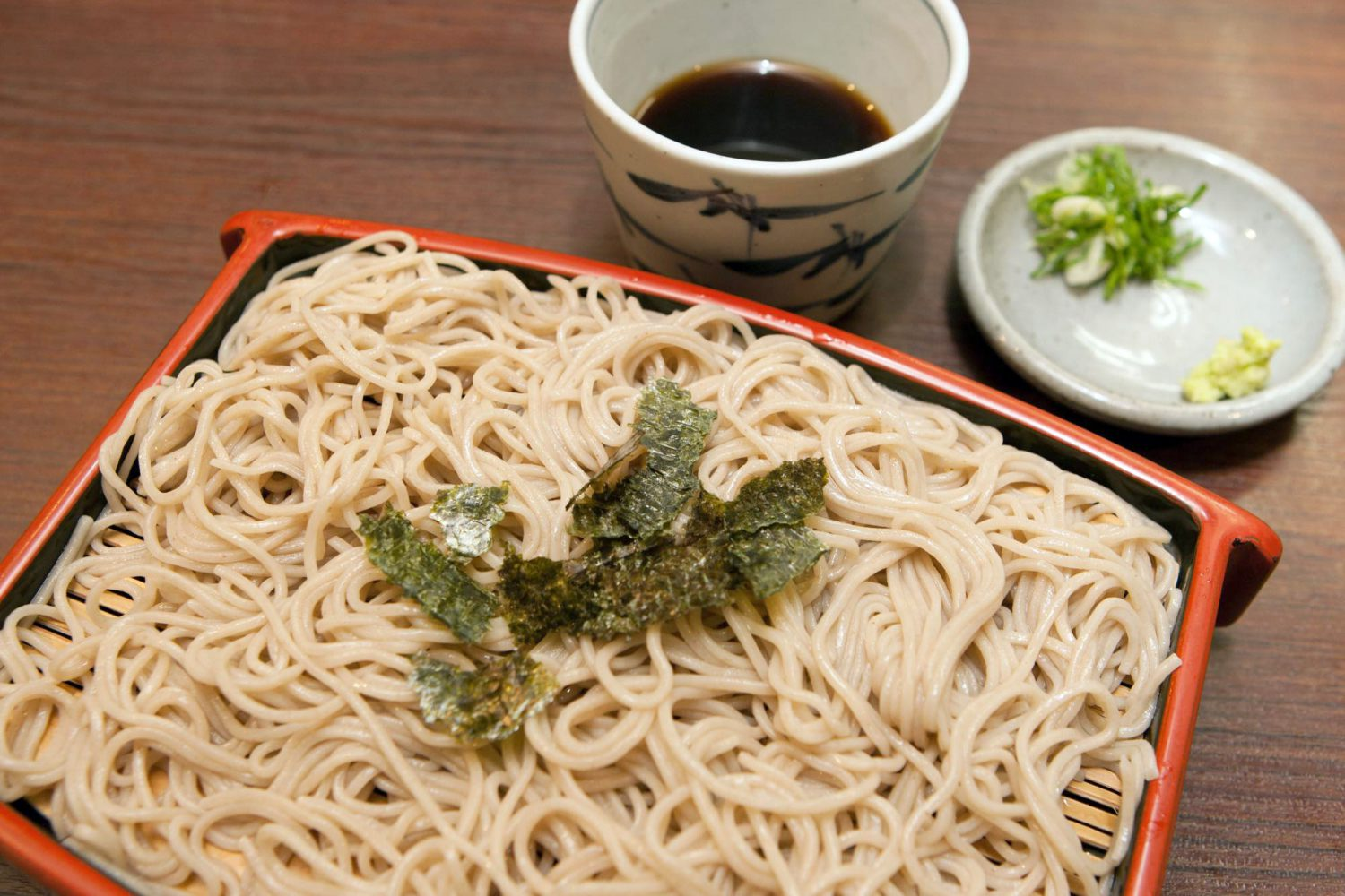 ZARU(ざる)Cold noodles with dipping sauce & WASABI